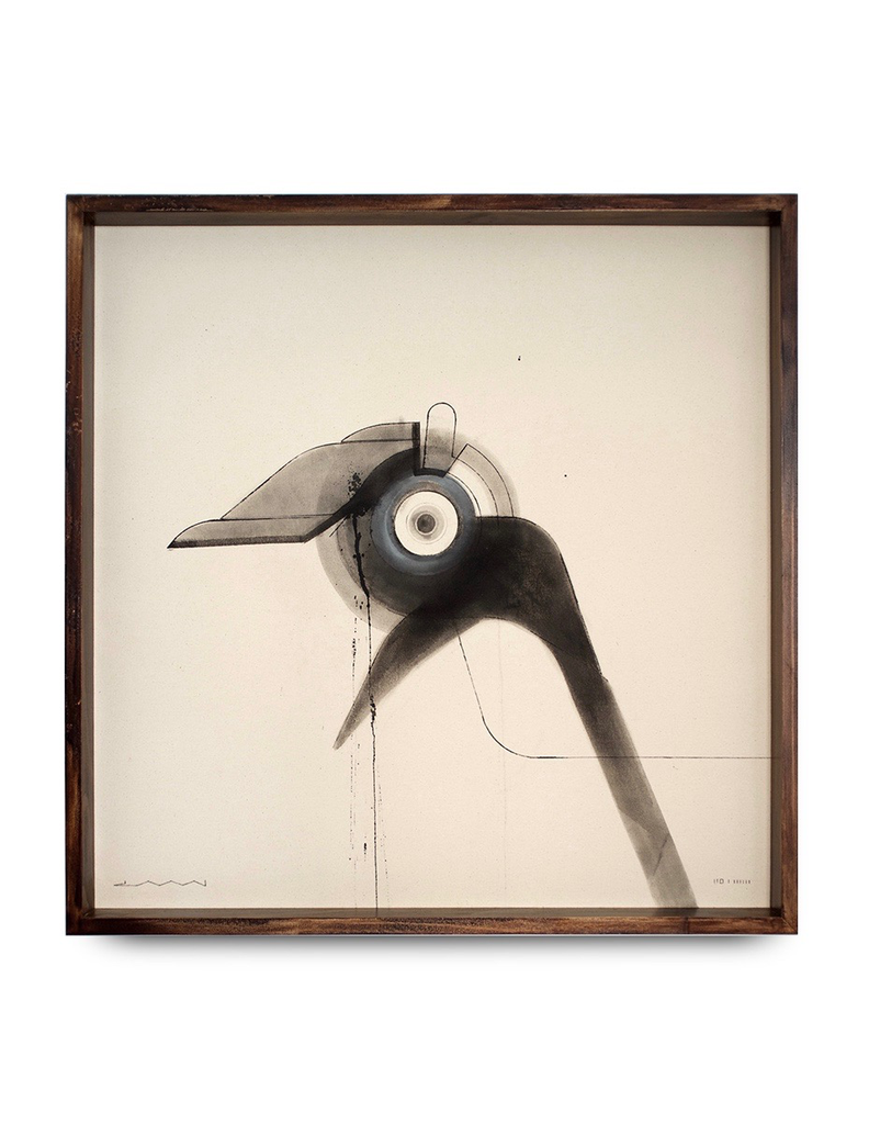 iiii - Infectious 2016 - Zami Art - Ink on Raw Canvas - Black Box Frame - 75x75cm