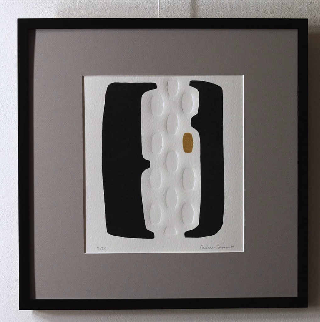Foucher-Poignant Foucher-Poignant Acrylic Lino Print - Limited Edition of 30 - 40x40cm - Untitled No 29 - Framed - France