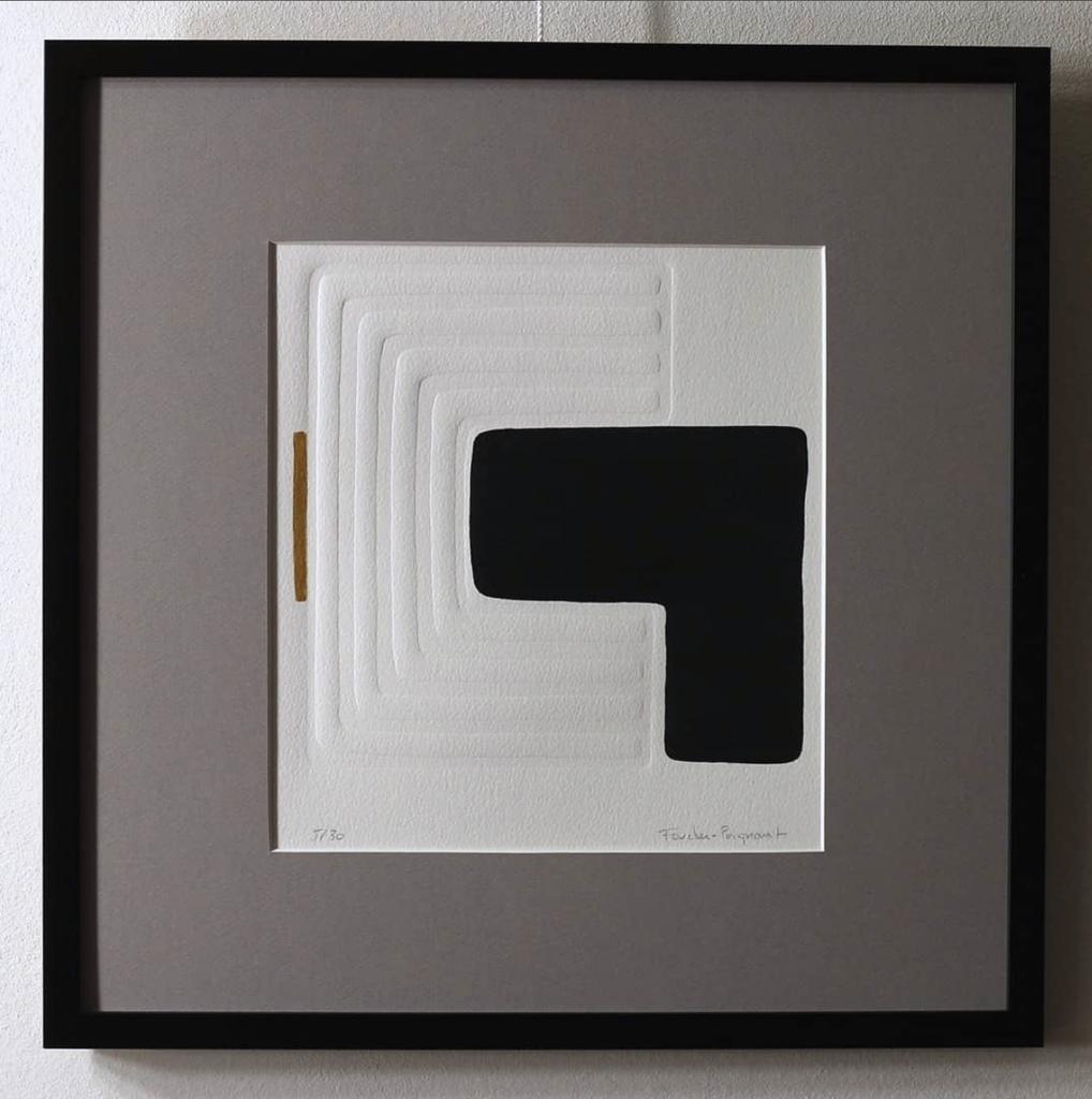 Foucher-Poignant Foucher-Poignant Acrylic Lino Print - Limited Edition of 30 - 40x40cm - Untitled No 23 - Framed - France