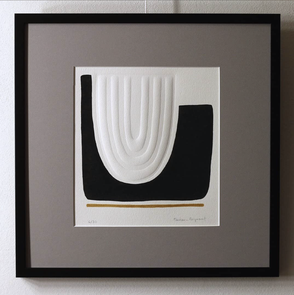 Foucher-Poignant Foucher-Poignant Acrylic Lino Print - Limited Edition of 30 - 40x40cm - Untitled No 22 - Framed - France
