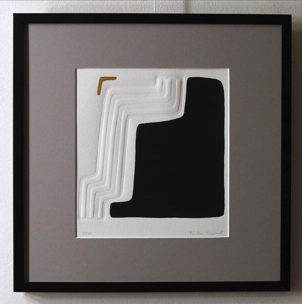 Foucher-Poignant Foucher-Poignant Acrylic Lino Print - Limited Edition of 30 - 40x40cm - Untitled No 20 - Framed - France