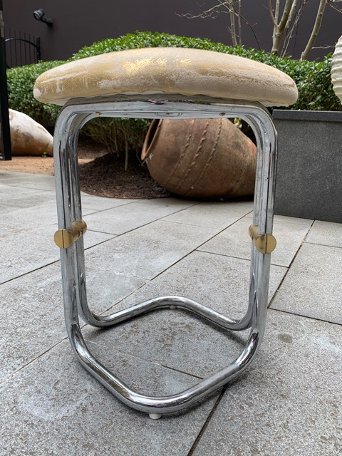 Vintage Chrome and Brass Stools c1970 - D32x32 H37