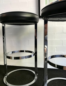 B.M.V.A. Vintage Set of 2 Italian Chrome Bar Stools - Black Vinyl c1970