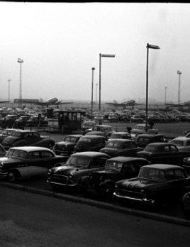 London Airport Carpark c1958 - Rhodes Oliver - Eclipse Radiance Gloss 260gsm -  Approx W125xH77 - Unframed