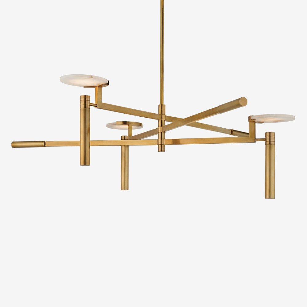 Kelly Wearstler Kelly Wearstler - Melange Large Floating Disc Chandelier in Antique-Burnished Brass with Alabaster