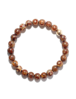 Spiritus Stones - Bracelet with Brown Tibetan Agate & 14ct Gold