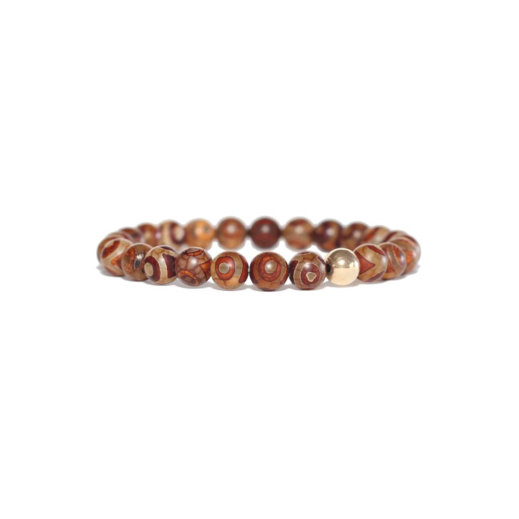 Spiritus Stones - Bracelet with Brown Tibetan Agate & 14ct Gold