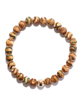 Spiritus Stones - Bracelet with Green & Tan Tibetan Agate & 14ct Gold