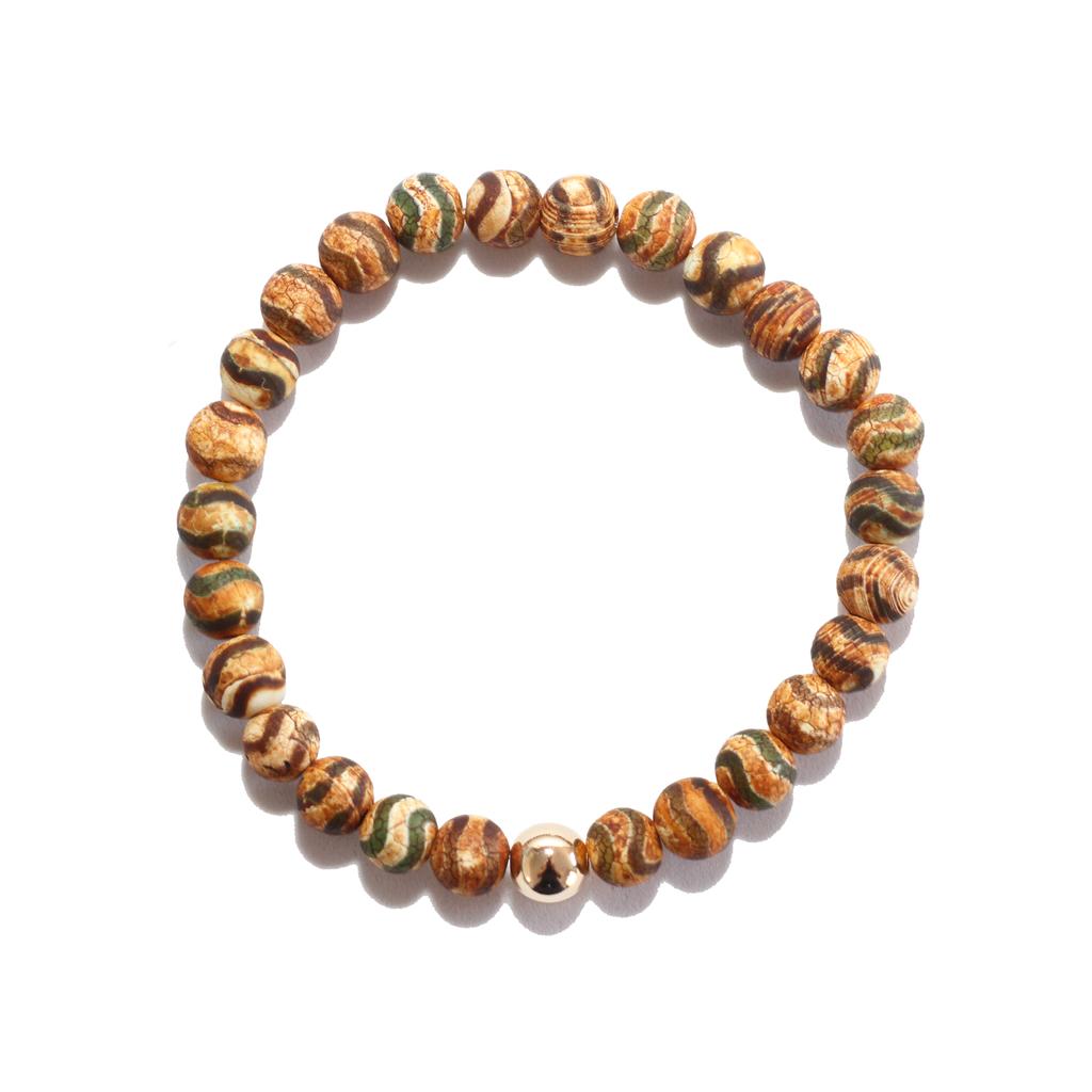 Spiritus Stones - Bracelet with Green & Tan Tibetan Agate & 14ct Gold