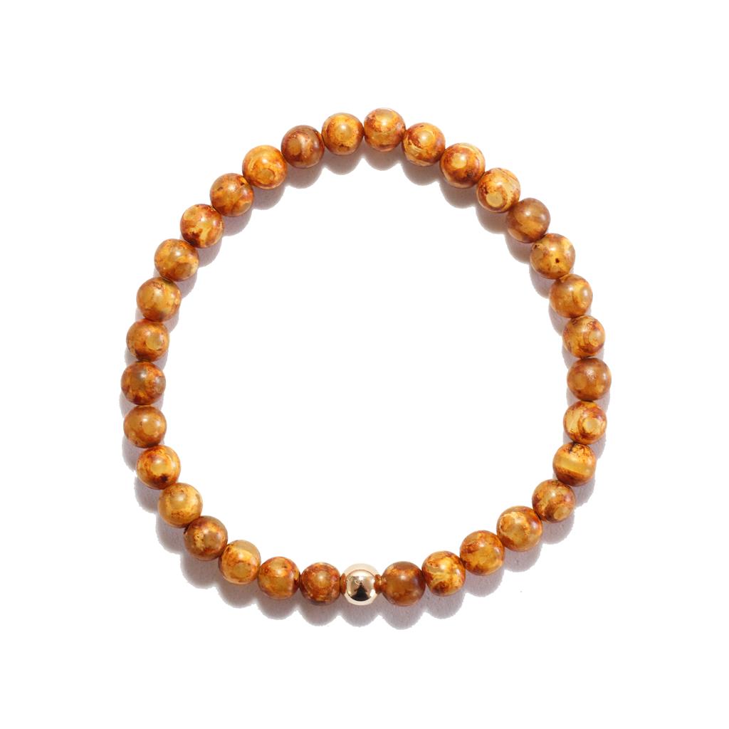 Spiritus Stones - Bracelet with Tan Tibetan Agate & 14ct Gold
