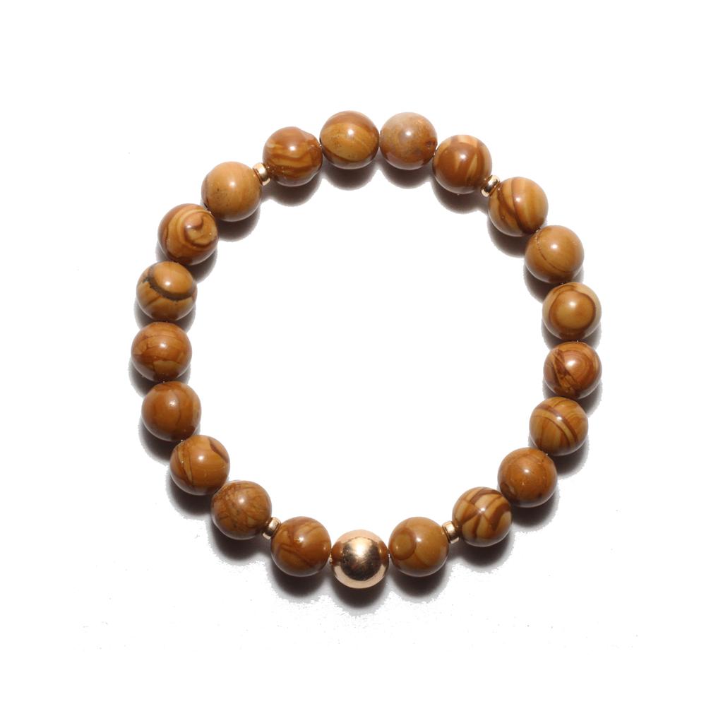 Spiritus Stones - Nurturer Bracelet with Tiger Skin Jasper & 14ct Gold