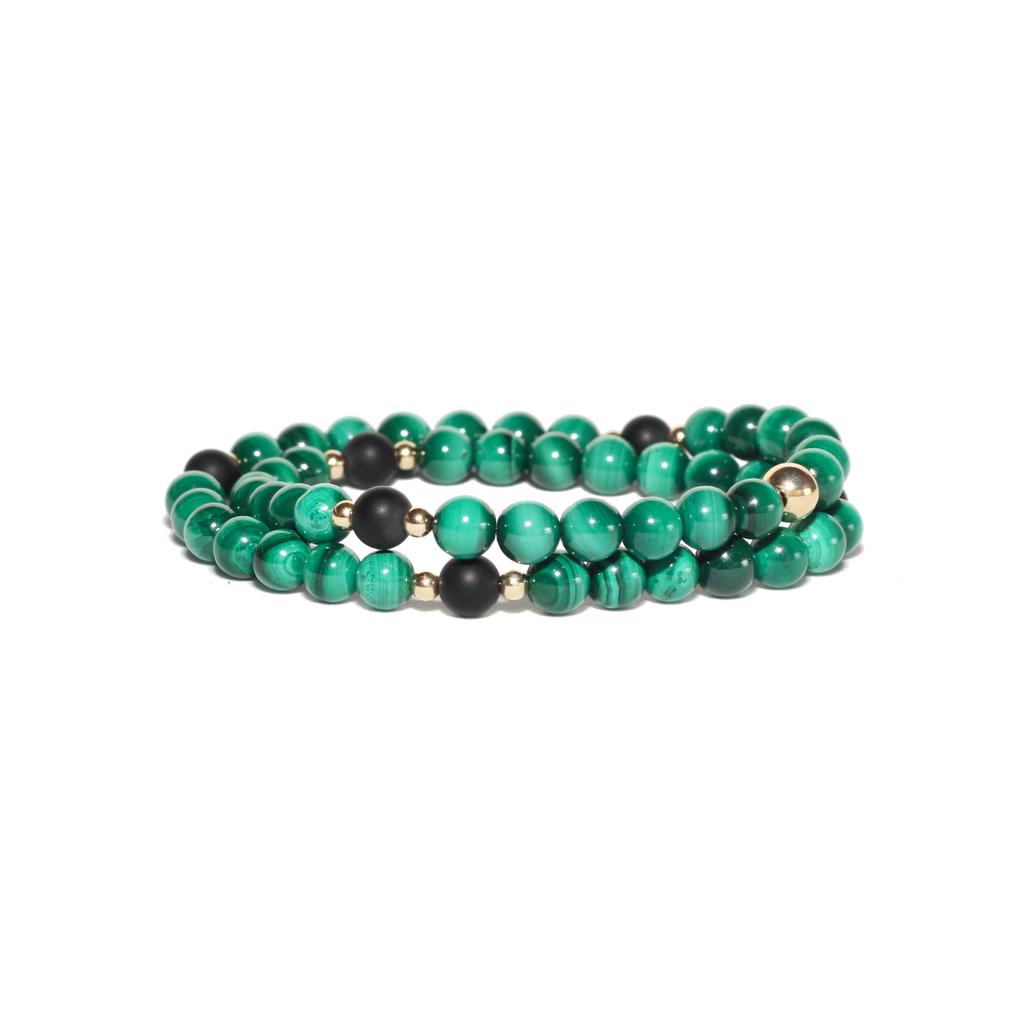 Spiritus Stones - Wrap Bracelet with Malachite & 14ct Gold