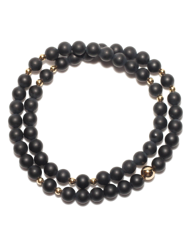 Spiritus Stones - Wrap Bracelet with Onyx & 14ct Gold