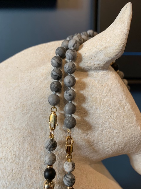 Spiritus Stones - Mala Necklace with Map Jasper, Onyx, Conche Shell and Brass Tibetan Bead & 14ct Gold (adjustable)