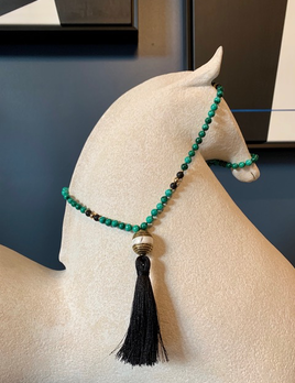 Spiritus Stones - Mala Necklace with Malachite, Onyx, Conche Shell and Brass Tibetan Bead & 14ct Gold
