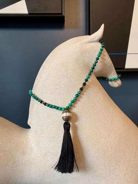 Spiritus Stones - Mala Necklace with Malachite, Onyx, Conche Shell and Brass Tibetan Bead & 14ct Gold