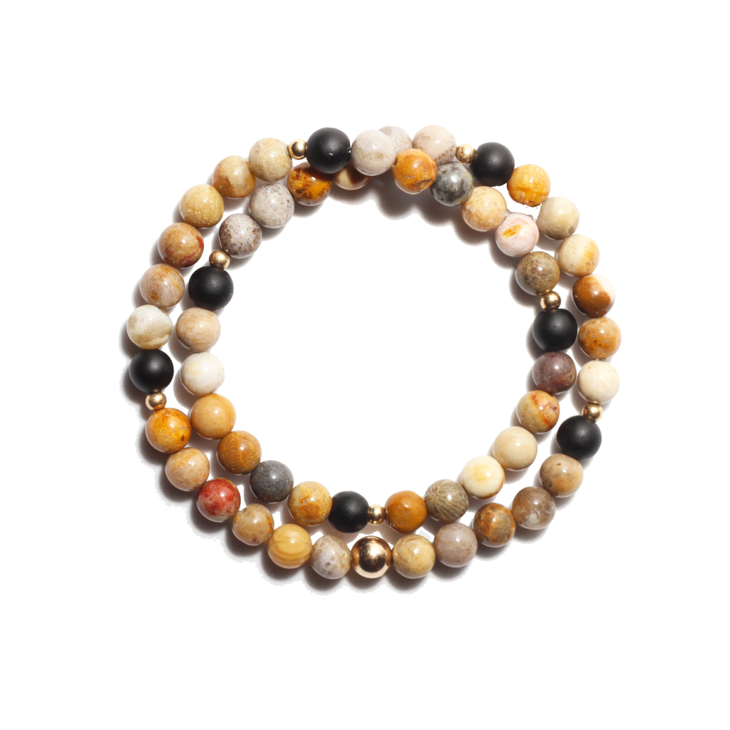 Spiritus Stones - Wrap Bracelet with Fossil, Coral, Onyx  & 14ct Gold