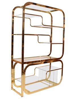 patina decor Vintage Mid Century Modern Brass (Gold) Etagere - Glass Shelving - Milo Baughman for Morex - H183cm x W122 cm x D46cm - Italy c1970