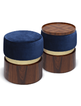 Lune B Stool - Brushed Brass and Velvet or Sumak Fabric - W40cm D40cm H45cm