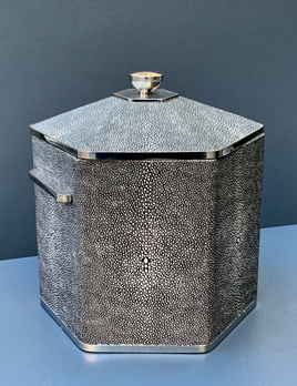 BECKER MINTY Ice Bucket - Charcoal Embossed Shagreen with Polished Stainless Steel -  20x20x21H cm
