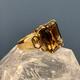 B.M.V.A. Vintage 14ct Yellow Gold and Smokey Quartz Cocktail Ring - Textured Band  - Smokey Quartz 1=28.78ct approx - c1970