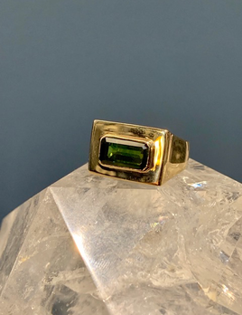 B.M.V.A. Vintage 14ct Yellow Gold and Rectangular Shaped Dark Green Tourmaline Dress Ring - Tourmaline 1=3ct approx