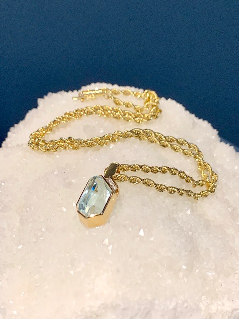 B.M.V.A. Vintage 14ct Yellow Gold, Diamond and Aquamarine Pendant on a Rope Chain - Aquamarine 1=6.85ct (approx), Diamonds 3=0.06ct Total (approx)
