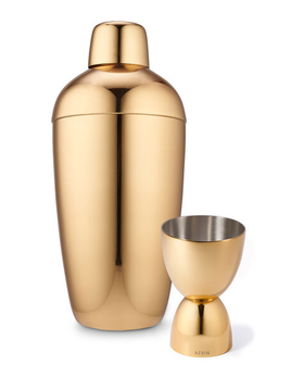 AERIN - Fausto Cocktail Shaker and Jigger Set - Gold Plated Stainless Steel - Not Dishwasher Proof