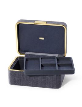 Aerin AERIN - Beauvais Velvet Jewellery Box - Dusk Blue - 27x19cm H12.5cm
