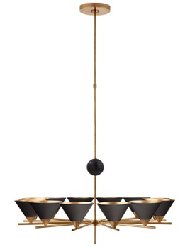 Kelly Wearstler Kelly Wearstler - Cleo Large Chandelier in Antique-Burnished Brass with Black Shades H136  x W94cm