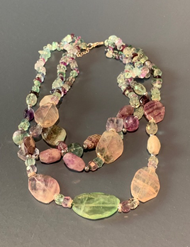 BECKER MINTY Three Strand Flourite and Mixed Stone Necklace - Sterling Silver Clasp - Medium