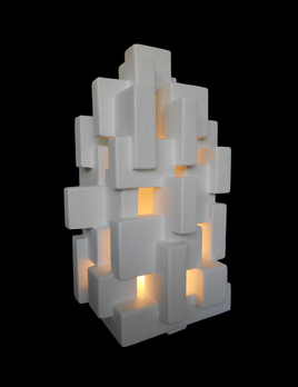 Dan Schneiger Light Box - Dan Schneiger Geometric Light Sculpture - White Resin Coated Wood - 56x33x33cm (approx) - Miami, Florida.