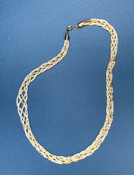 BECKER MINTY Vintage Gold Toned Multi Chain Plait Necklace - USA