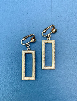 BECKER MINTY Vintage Gold Toned Texured Rectangle Clip on Earrings  - USA