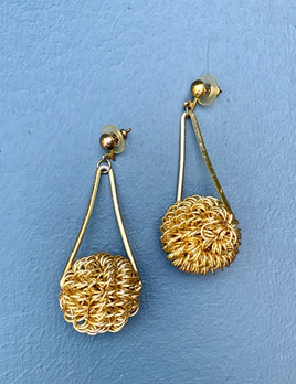 BECKER MINTY Vintage Gold Toned Textured Sphere Drop Earrings  - USA