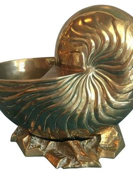 BECKER MINTY Vintage Mid Century Modern Brass Nautilus Shell Planter - 26x30x20cm