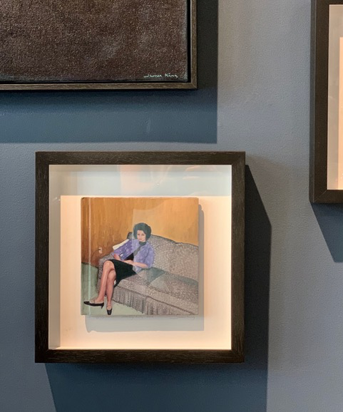 James King - Lounging Woman 2019 - Oil on Book - <br /> 32.5xH 33cm Framed <br /> (Painting 18x18cm)