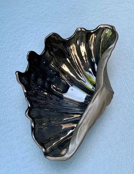 patina decor Vintage Black Ceramic Shell Dish - Gloss Interior and Matte Exterior