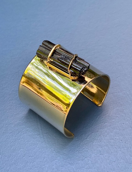Nativa Gems Single Black Tourmaline Cuff - Gold Plated Brass - Brasil