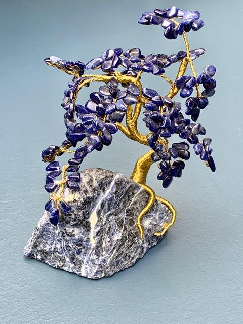 BECKER MINTY Vintage Sodalite and Brass Bonsai Tree Sculpture
