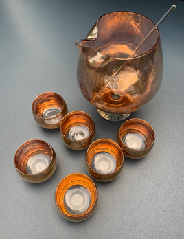 BECKER MINTY Vintage Rose Gold Glass Martini Set or Pitcher / Jug Set - Six 6 Glasses
