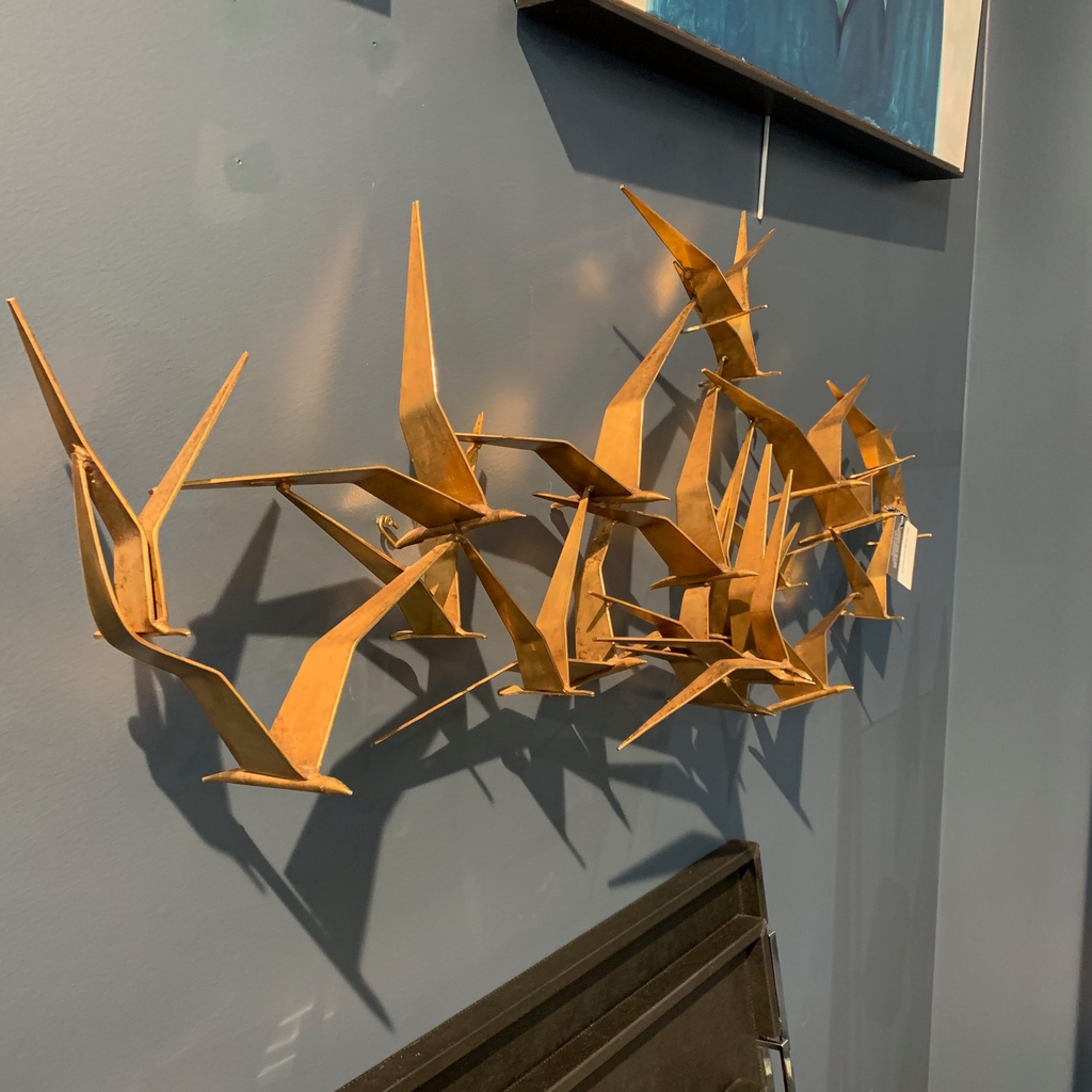 BECKER MINTY Vintage Signed Curtis Jere Metal Wall Sculpture - Birds - H55xW137cm (approx) - USA c1970