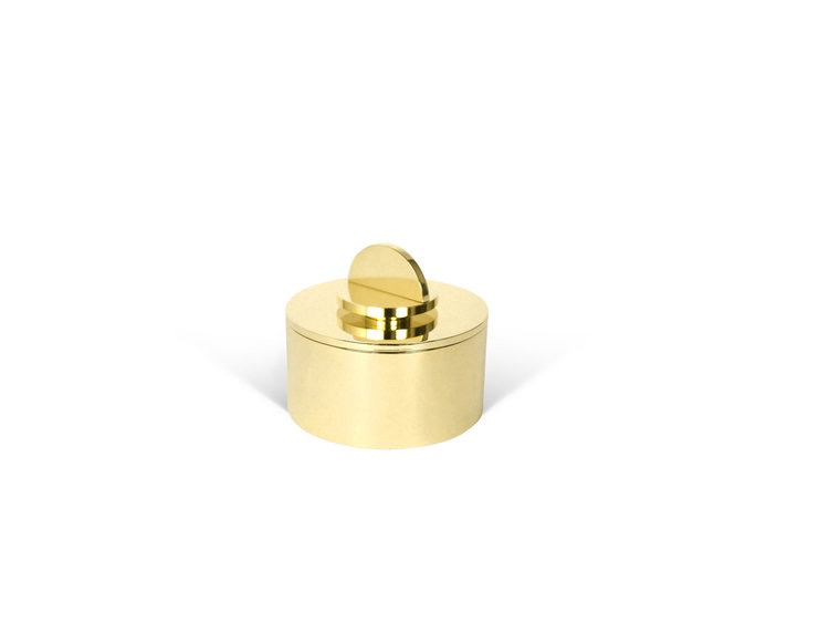 Les Few Armance Large Low Solid Brass Box with Lid - Antracite Interior - D10cm x H7.3cm - Swedan