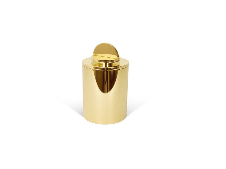 Les Few Armance Small Solid Brass Box with Lid - Antracite Interior - D8 cm x H12cm - Swedan
