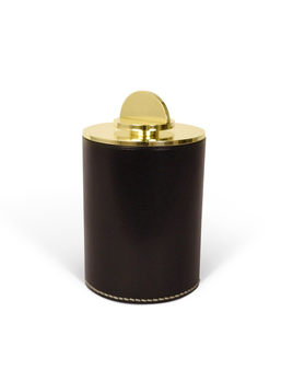 Les Few Julie XL Leather and Brass Box - Black Italian Leather with Polish Brass Lid - D10xH15cm - Swedan