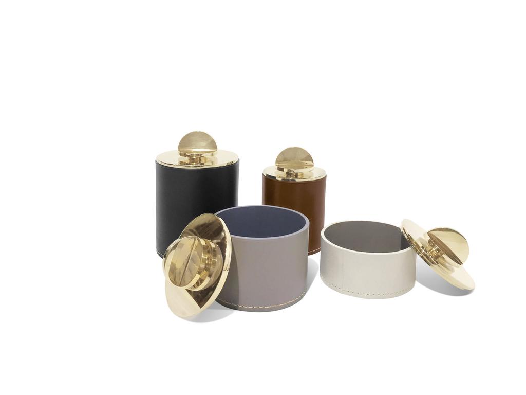 Les Few Julie XL Leather and Brass Box - Black Italian Leather with Polish Brass Lid - D10xH15cm - Swedan