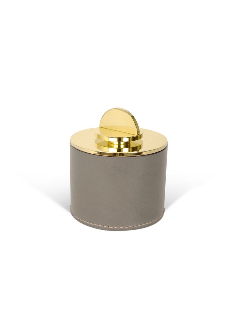 Les Few Julie Large Leather and Brass Box - Grey Italian Leather with Polish Brass Lid - D10cm x H11.5cm - Swedan