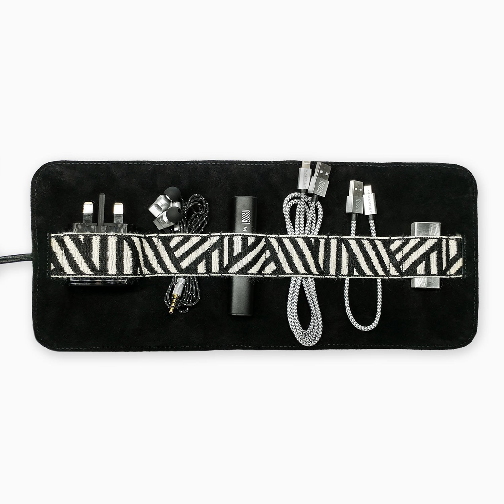 Mantidy Mantidy - Gaucho Tech Roll Mobile Phone Accessories Kit - Black Leather with Chevron