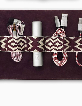 Mantidy Mantidy - Gaucho Tech Roll Mobile Phone Accessories Kit - Bordeaux Red Leather with Chevron
