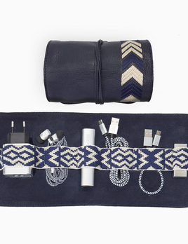 Mantidy Mantidy - Gaucho Tech Roll Mobile Phone Accessories Kit - Navy Blue Leather with Chevron